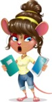 Cute Female Mouse Cartoon Vector Character - Choosing between Book and Tablet