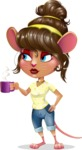 Cute Female Mouse Cartoon Vector Character - Drinking Coffee