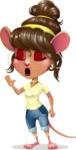 Cute Female Mouse Cartoon Vector Character - Feeling Bored