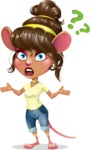 Cute Female Mouse Cartoon Vector Character - Feeling Confused