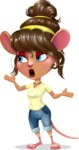 Cute Female Mouse Cartoon Vector Character - Feeling Lost