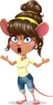 Cute Female Mouse Cartoon Vector Character - Feeling Shocked