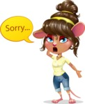 Cute Female Mouse Cartoon Vector Character - Feeling sorry