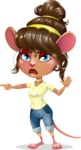 Cute Female Mouse Cartoon Vector Character - Finger pointing with angry face