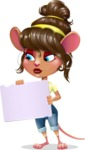Cute Female Mouse Cartoon Vector Character - Holding a Blank sign