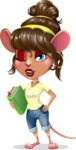 Cute Female Mouse Cartoon Vector Character - Holding a book