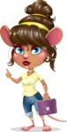 Cute Female Mouse Cartoon Vector Character - Holding a briefcase