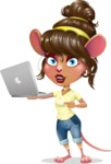 Cute Female Mouse Cartoon Vector Character - Holding a laptop