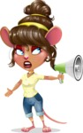 Cute Female Mouse Cartoon Vector Character - Holding a Loudspeaker