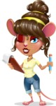 Cute Female Mouse Cartoon Vector Character - Holding a notepad with pencil