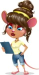 Cute Female Mouse Cartoon Vector Character - Holding a notepad
