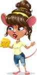 Cute Female Mouse Cartoon Vector Character - Holding a piece of cheese
