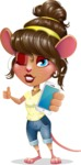 Cute Female Mouse Cartoon Vector Character - Holding a smartphone
