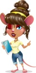 Cute Female Mouse Cartoon Vector Character - Holding an iPad