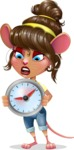 Cute Female Mouse Cartoon Vector Character - Holding clock