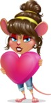 Cute Female Mouse Cartoon Vector Character - Holding heart