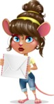 Cute Female Mouse Cartoon Vector Character - Holding mail envelope
