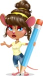 Cute Female Mouse Cartoon Vector Character - Holding Pencil