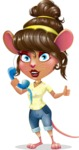 Cute Female Mouse Cartoon Vector Character - Holding phone with thumbs up