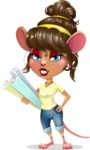 Cute Female Mouse Cartoon Vector Character - Holding Plans