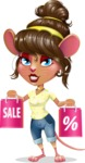 Cute Female Mouse Cartoon Vector Character - Holding shopping bags