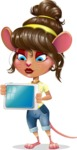 Cute Female Mouse Cartoon Vector Character - Holding tablet