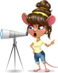 Cute Female Mouse Cartoon Vector Character - Looking through telescope