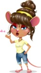 Cute Female Mouse Cartoon Vector Character - Making a Duckface for a selfie