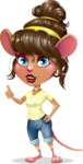 Cute Female Mouse Cartoon Vector Character - Making a point