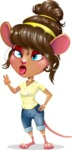 Cute Female Mouse Cartoon Vector Character - Making Funny face