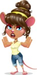 Cute Female Mouse Cartoon Vector Character - Making stop gesture with both hands