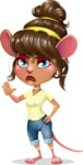 Cute Female Mouse Cartoon Vector Character - Making stop with a hand