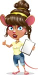 Cute Female Mouse Cartoon Vector Character - Making thumbs up with notepad