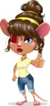 Cute Female Mouse Cartoon Vector Character - Making Thumbs Up