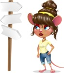 Cute Female Mouse Cartoon Vector Character - on a Crossroad with sign pointing in all directions