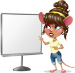 Cute Female Mouse Cartoon Vector Character - Pointing on a Blank whiteboard