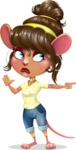 Cute Female Mouse Cartoon Vector Character - Pointing with a fnger