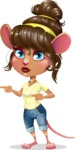 Cute Female Mouse Cartoon Vector Character - Pointing with both hands