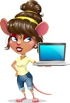 Cute Female Mouse Cartoon Vector Character - Presenting on laptop