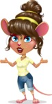 Cute Female Mouse Cartoon Vector Character - Presenting with both hands