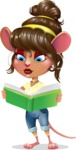 Cute Female Mouse Cartoon Vector Character - Reading a book