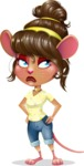 Cute Female Mouse Cartoon Vector Character - Rolling Eyes