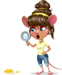 Cute Female Mouse Cartoon Vector Character - Searching with magnifying glass