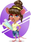 Cute Female Mouse Cartoon Vector Character - Shape 10