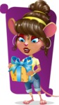 Cute Female Mouse Cartoon Vector Character - Shape 5
