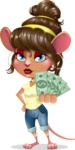 Cute Female Mouse Cartoon Vector Character - Show me the Money