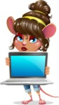 Cute Female Mouse Cartoon Vector Character - Showing a laptop