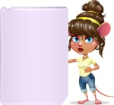 Cute Female Mouse Cartoon Vector Character - Showing Big Blank banner