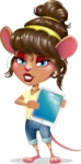 Cute Female Mouse Cartoon Vector Character - Showing tablet