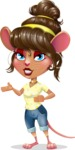 Cute Female Mouse Cartoon Vector Character - Showing with both hands